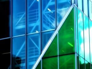 Cristalera azul y verde