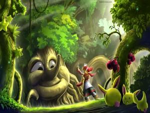 Seres mágicos en un bosque encantado