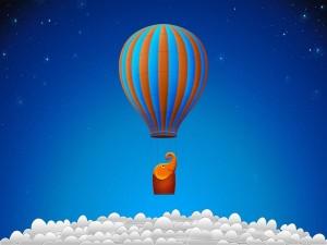 Postal: Elefantito viajando en globo sobre las nubes