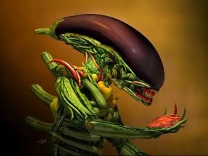 Postal: Alien vegetariano