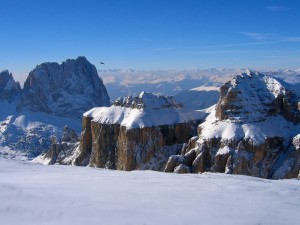 Postal: Cumbres nevadas y un pájaro sobrevolandolas