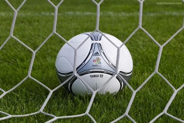 El balón de la Eurocopa 2012 (Tango/12) tras las mallas de la portería