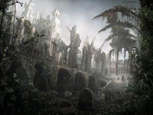 Postal: Tumbas entre ruinas mediavales