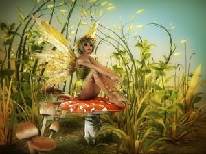 Hada sentada sobre un hongo