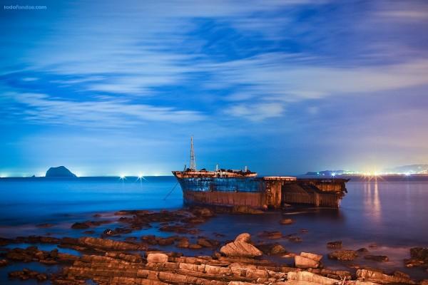 Restos de un barco abandonado