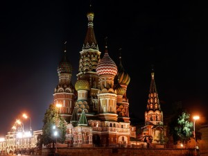 Postal: Catedral de San Basilio de noche (Moscú)