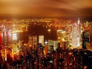Postal: Bahía de Hong Kong de noche