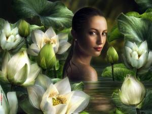 Postal: Bañándose entre flores