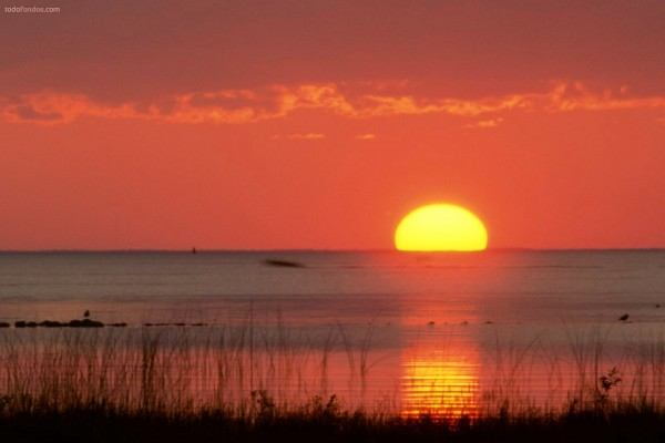 El Sol sobre el horizonte del mar