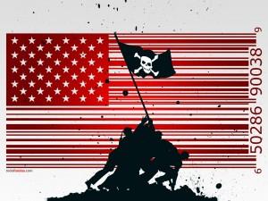 Postal: Composición digital con la bandera norteamericana