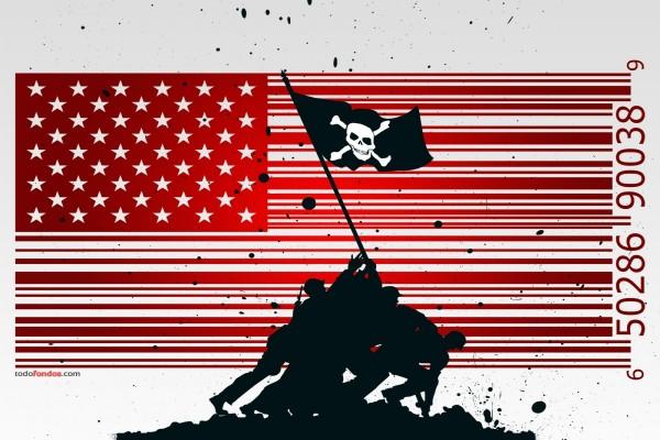 Composición digital con la bandera norteamericana