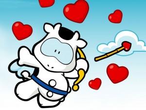 Postal: Vaquita del amor