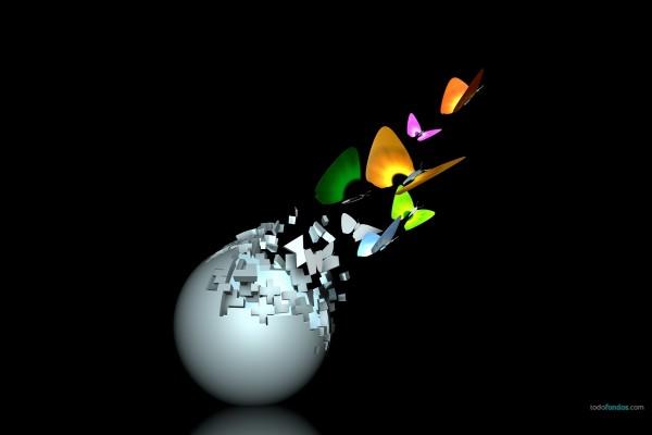 Mariposas saliendo de una esfera