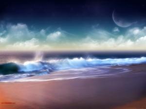 Postal: Playa de colores pastel