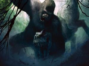 King Kong luchando con un dinosaurio