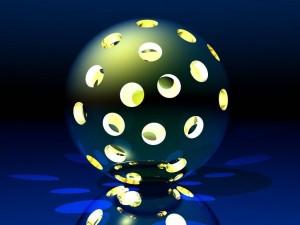 Postal: Esfera iluminada con agujeros