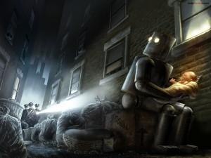 Postal: Robot secuestrando un bebé