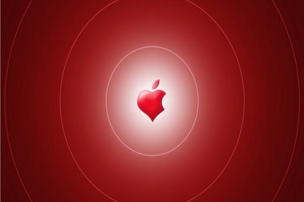 Corazón rojo de Apple