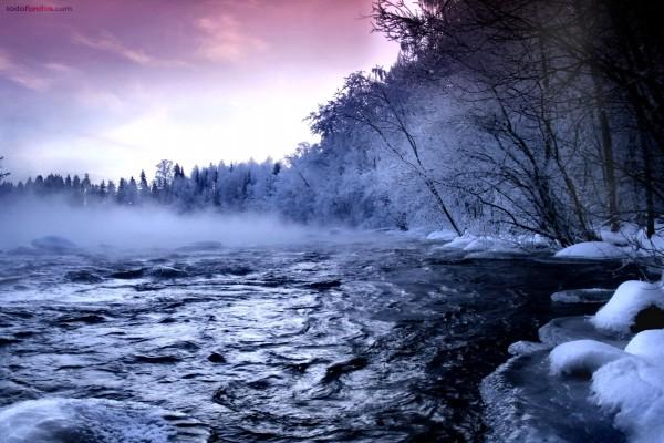 Las orillas heladas de un lago