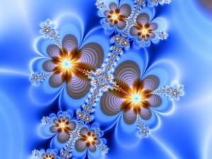 Postal: Flores fractales