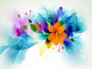 Postal: Flores brillantes