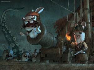 Postal: Conejos piratas