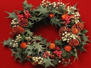 Postal: Corona adornada para Navidad