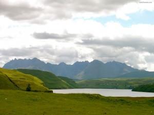 Lago rodeado de campos verdes