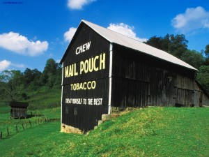 Granero con publicidad de Mail Pouch Tobacco (Marietta, Ohio)