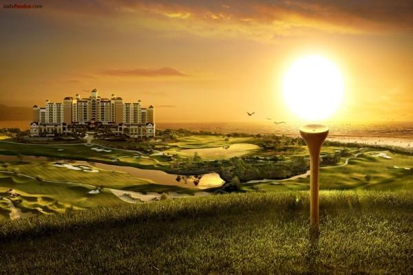 """Tee de golf """"sosteniendo"""" el Sol"""