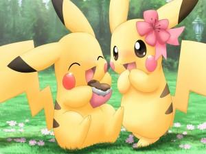 Postal: Pikachu comiendo un corazón de chocolate