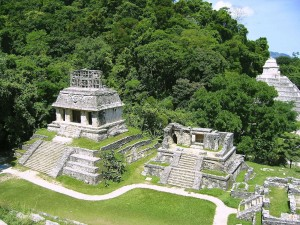 El Templo del Sol, en la zona arqueológica de Palenque (Chiapas, México)