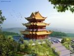 Pagoda oriental en medio de la naturaleza