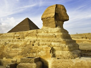 Postal: La Gran Esfinge de Guiza (El Cairo, Egipto)