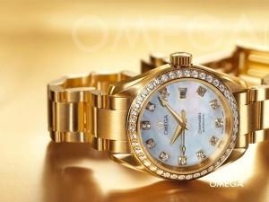 Postal: Reloj Omega Seamaster de oro y diamantes