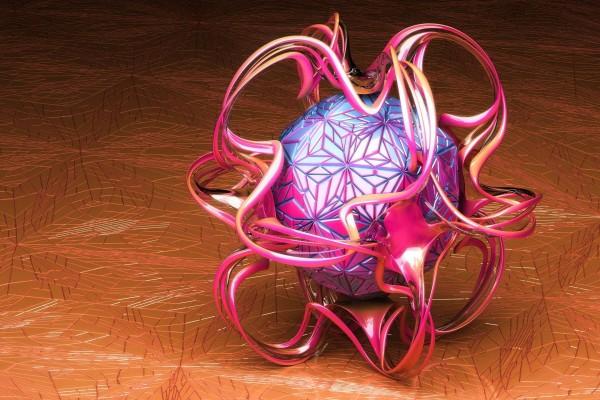 Esfera rodeada de líneas curvas de colores