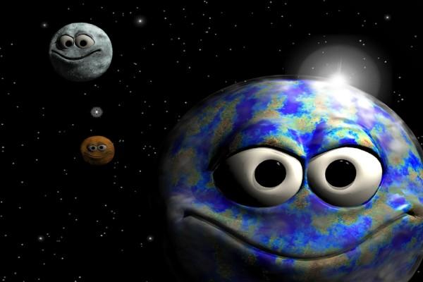 Planetas sonrientes en 3D