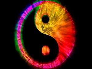 Ying-Yang en colores psicodélicos
