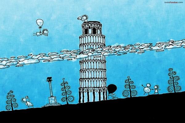 La Torre de Pisa por encima de las nubes
