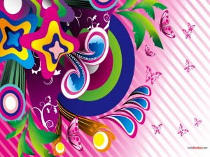 Psicodelia de colores y mariposas