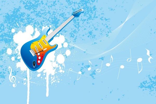 Guitarra eléctrica y notas musicales