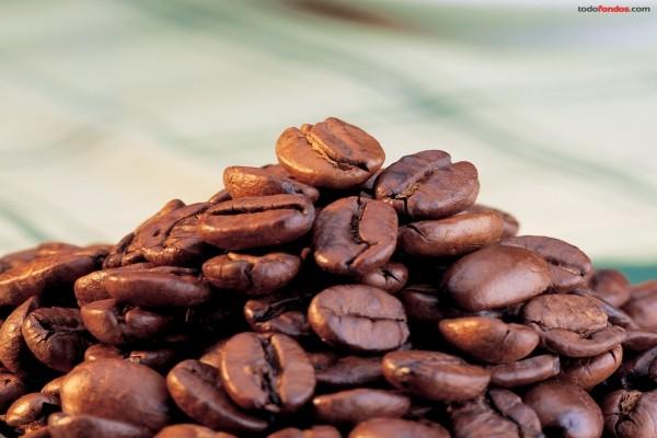 Un montoncito de granos de café