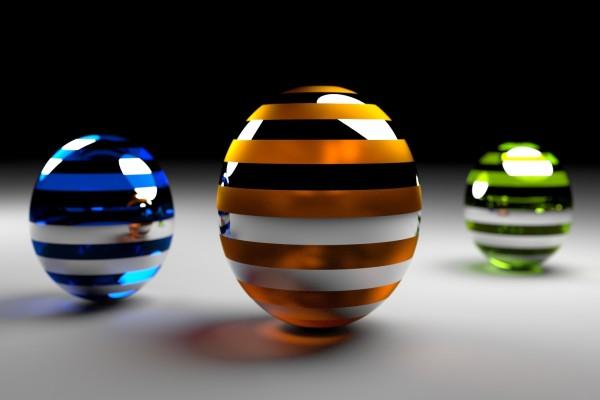 Esferas 3D con líneas de colores