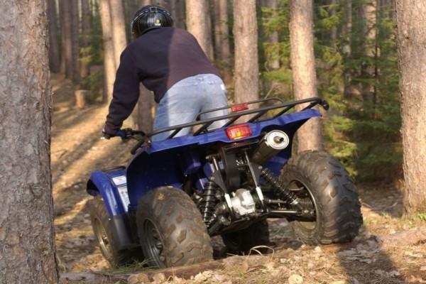 Con una Yamaha Kodiak por el bosque
