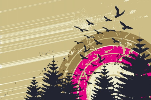 Diseño de una bandada de pájaros