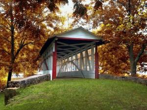 Puente de madera techado