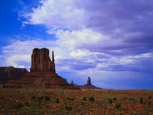 Postal: Formaciones de roca en el desierto