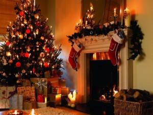 Postal: Típico salón navideño