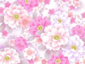 Postal: Lluvia de flores rosas