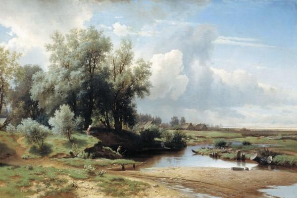 Pintura de un hermoso paisaje con pescadores